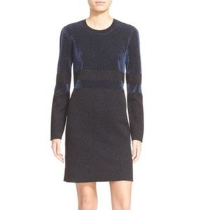 Tory Burch Metallic Stripe Sparkle Dress Sz Large